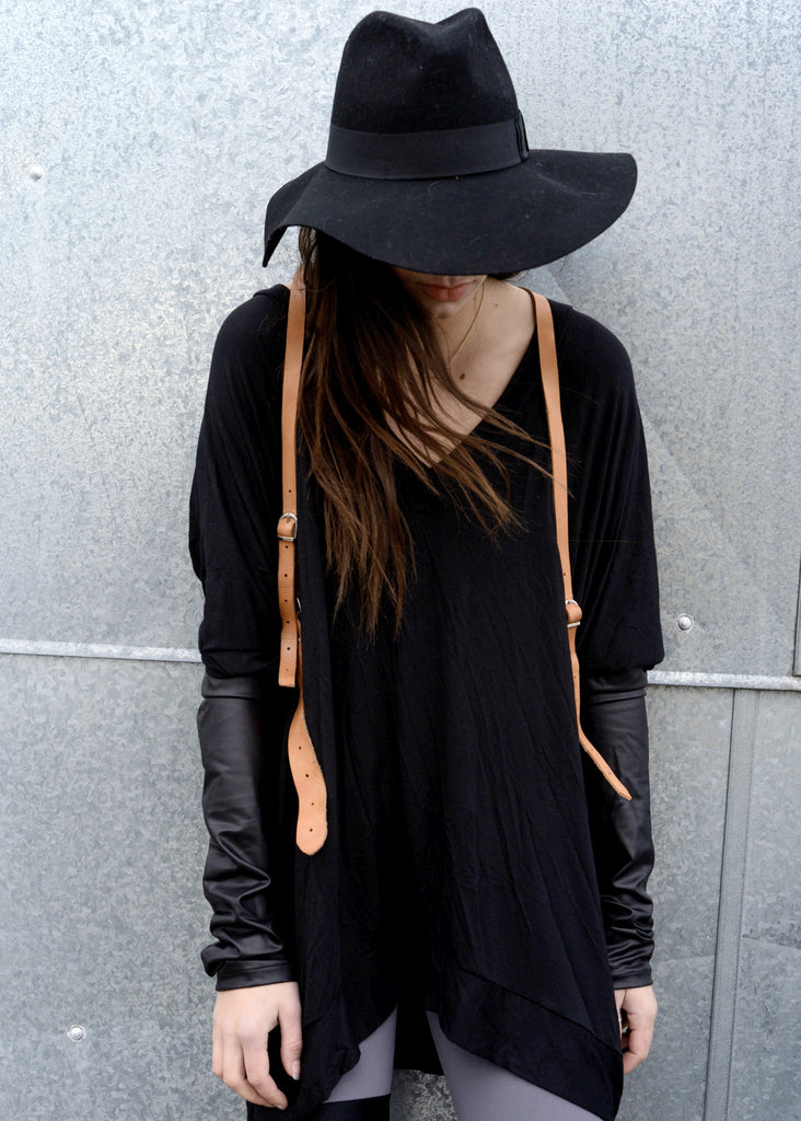 Black Leather Long Sleeve Asymmetrical Oversized T-Shirt Dress - BABOOSHKA BOUTIQUE - 4