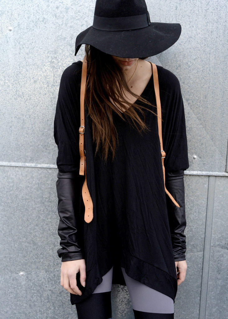Black Leather Long Sleeve Asymmetrical Oversized T-Shirt Dress - BABOOSHKA BOUTIQUE - 20