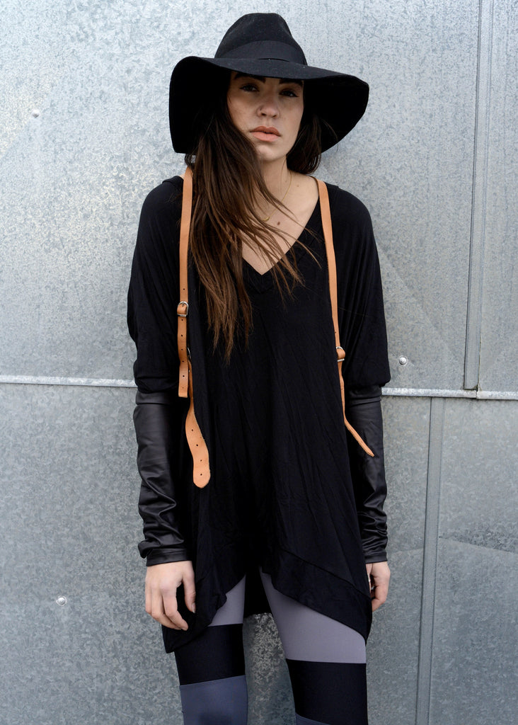 Black Leather Long Sleeve Asymmetrical Oversized T-Shirt Dress - BABOOSHKA BOUTIQUE - 3