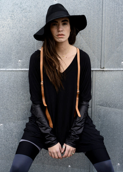 Black Leather Long Sleeve Asymmetrical Oversized T-Shirt Dress - BABOOSHKA BOUTIQUE - 2