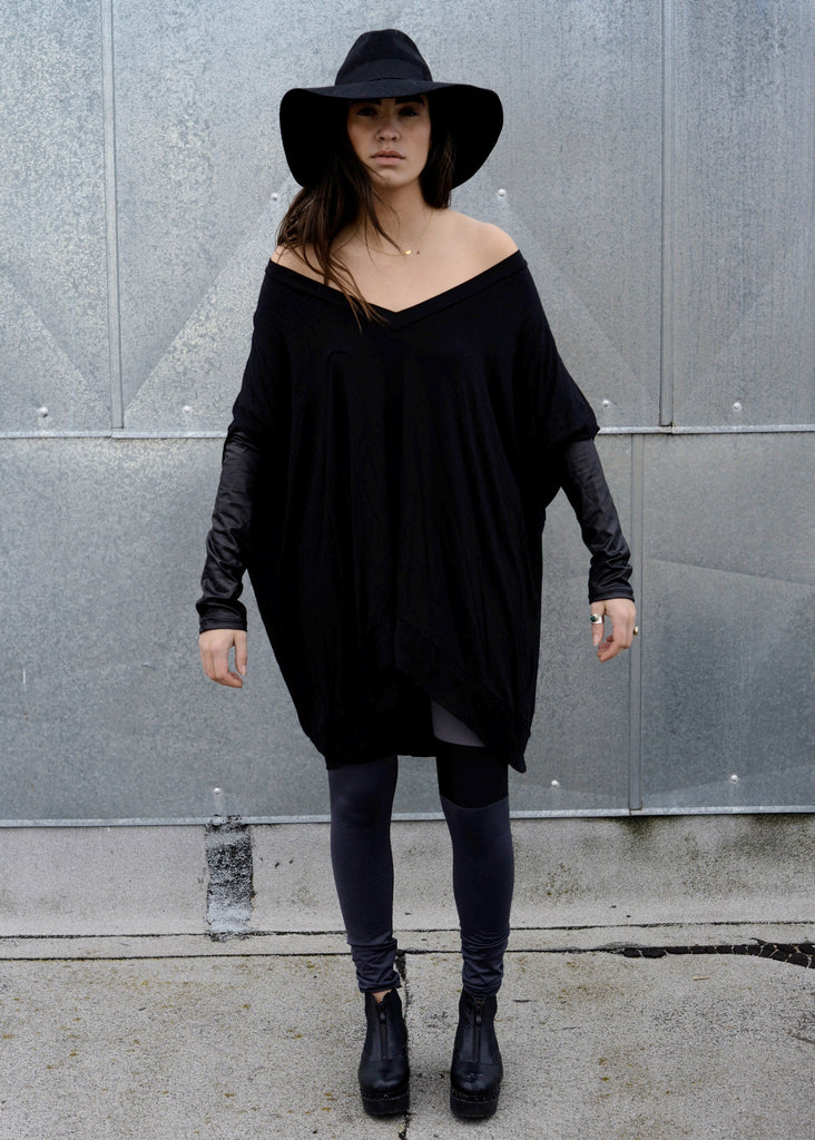 Black Leather Long Sleeve Asymmetrical Oversized T-Shirt Dress - BABOOSHKA BOUTIQUE - 6