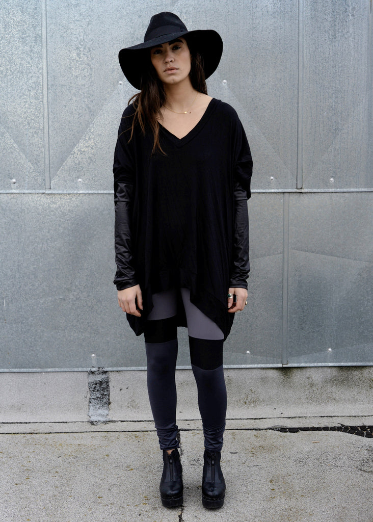 Black Leather Long Sleeve Asymmetrical Oversized T-Shirt Dress - BABOOSHKA BOUTIQUE - 11