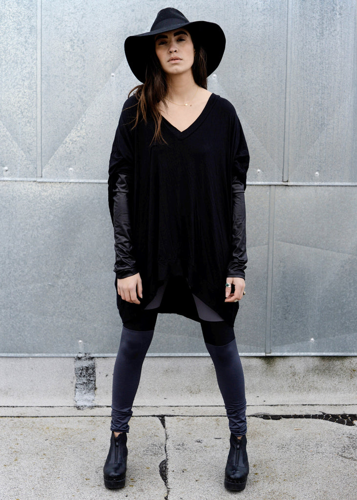 Black Leather Long Sleeve Asymmetrical Oversized T-Shirt Dress - BABOOSHKA BOUTIQUE - 12