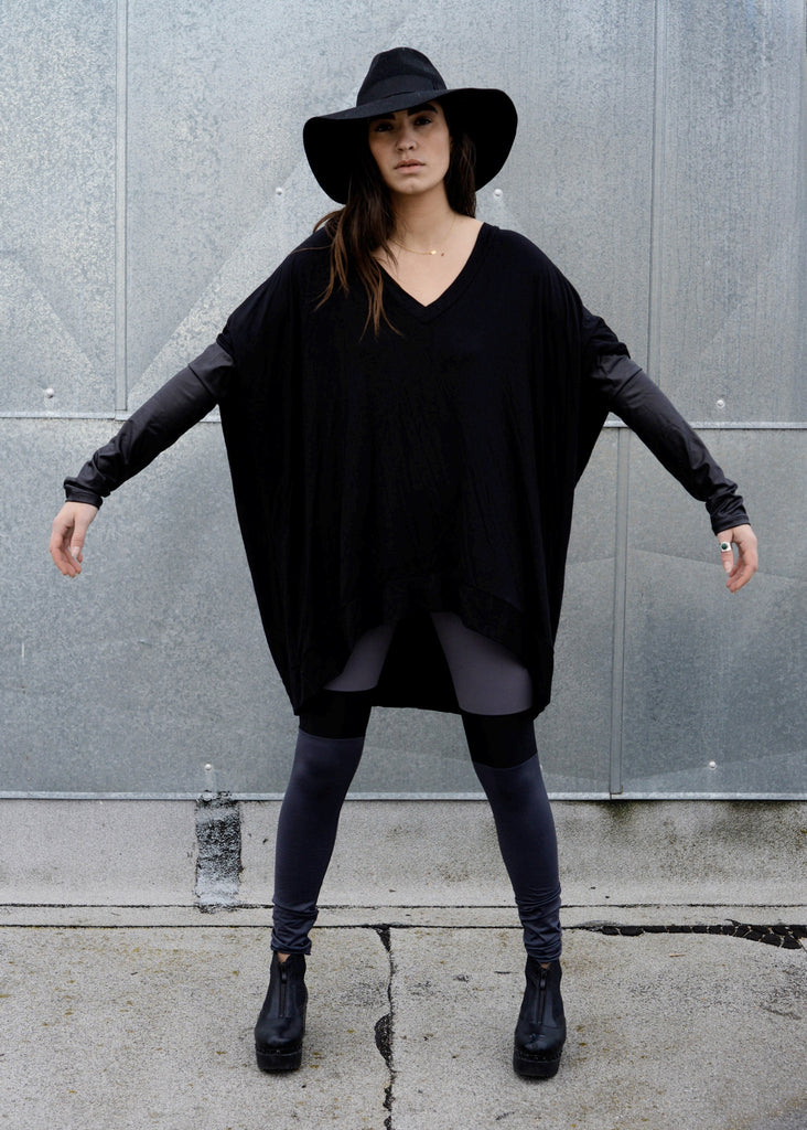 Black Leather Long Sleeve Asymmetrical Oversized T-Shirt Dress - BABOOSHKA BOUTIQUE - 13