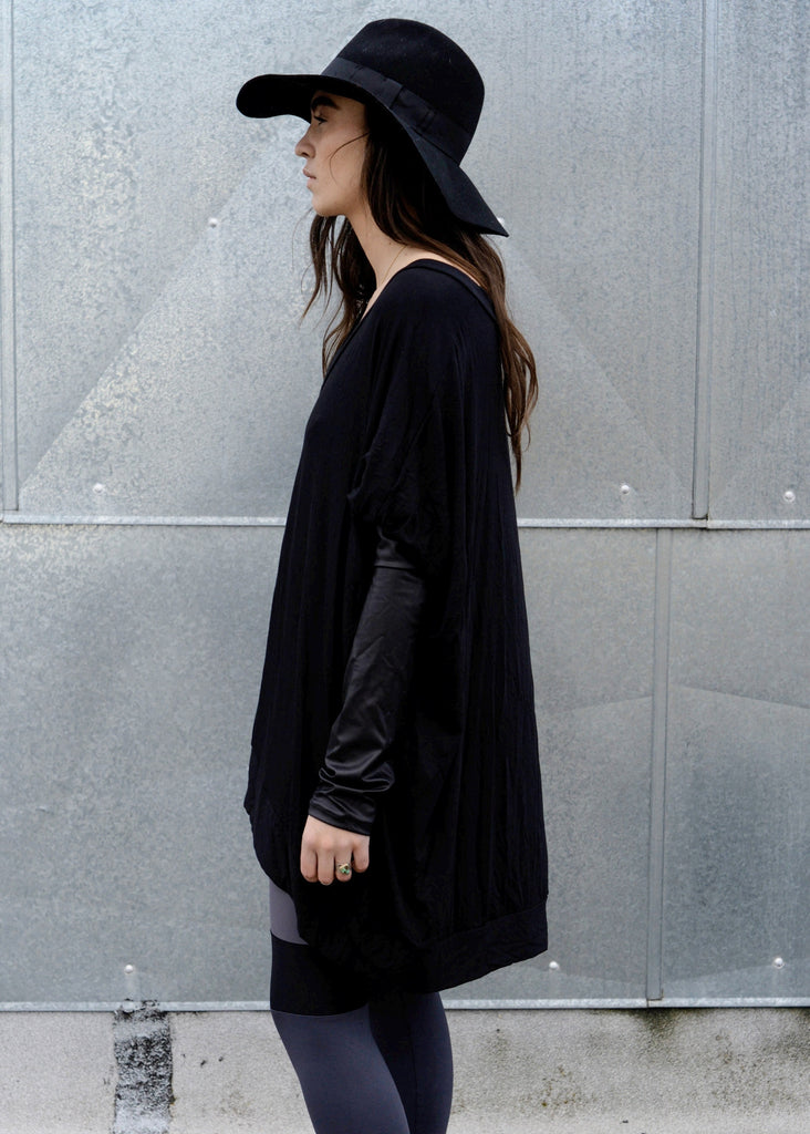 Black Leather Long Sleeve Asymmetrical Oversized T-Shirt Dress - BABOOSHKA BOUTIQUE - 5