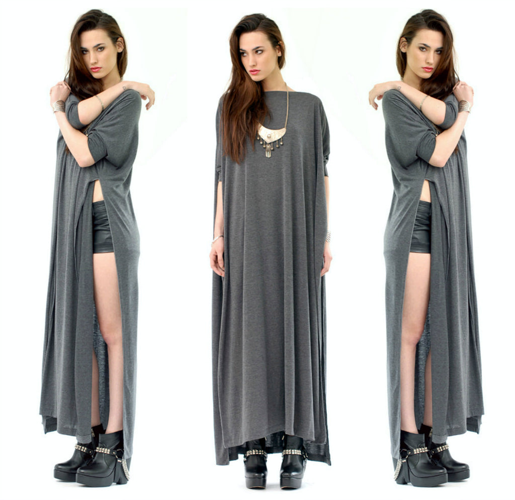 Charcoal Vent Tee Maxi T-Shirt Dress  [new colors] - BABOOSHKA BOUTIQUE - 23