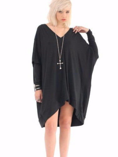 Black Long Sleeve Asymmetrical Oversized T-Shirt Dress - BABOOSHKA BOUTIQUE - 4