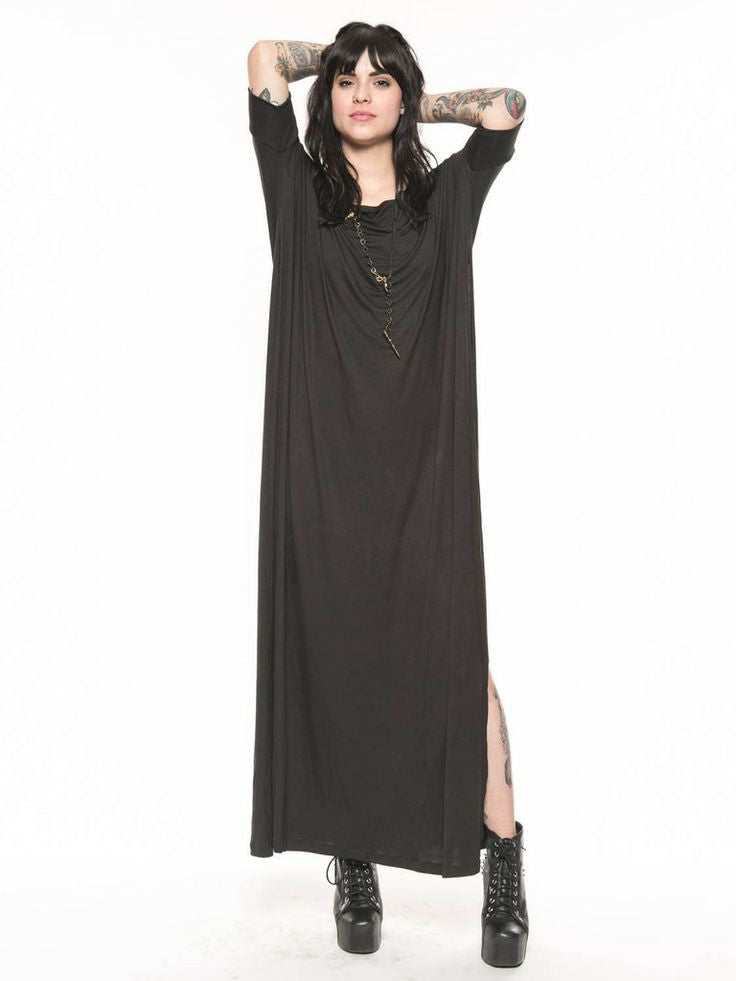 Charcoal Vent Tee Maxi T-Shirt Dress  [new colors] - BABOOSHKA BOUTIQUE - 16