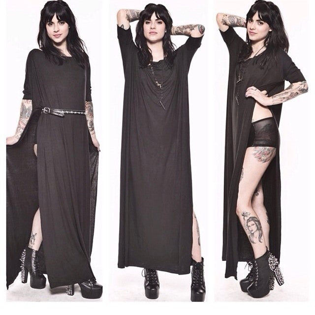 Charcoal Vent Tee Maxi T-Shirt Dress  [new colors] - BABOOSHKA BOUTIQUE - 21