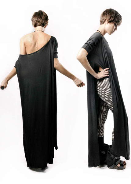 Black Vent Tee Maxi Dress - BABOOSHKA BOUTIQUE - 1