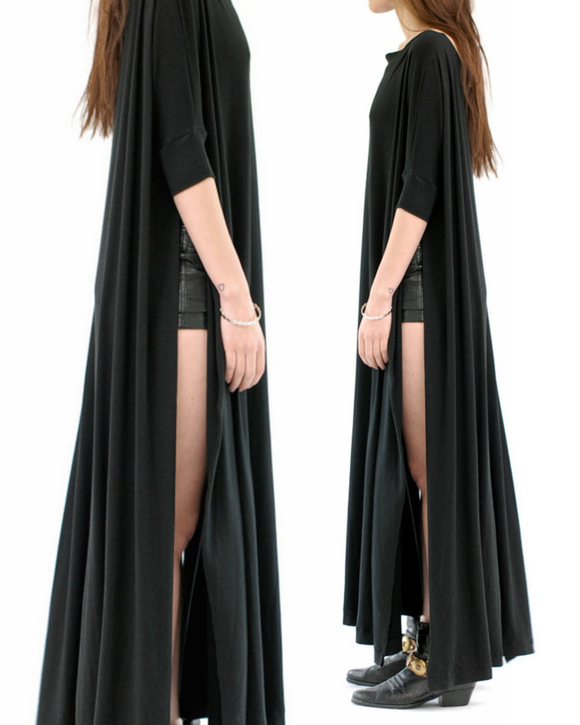 Black Vent Tee Maxi Dress - BABOOSHKA BOUTIQUE - 4