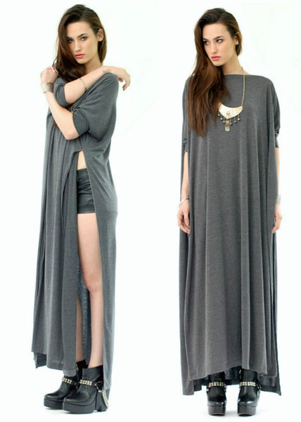 Charcoal Vent Tee Maxi T-Shirt Dress  [new colors] - BABOOSHKA BOUTIQUE - 2