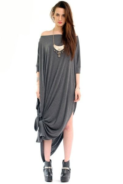 Charcoal Vent Tee Maxi T-Shirt Dress  [new colors] - BABOOSHKA BOUTIQUE - 10