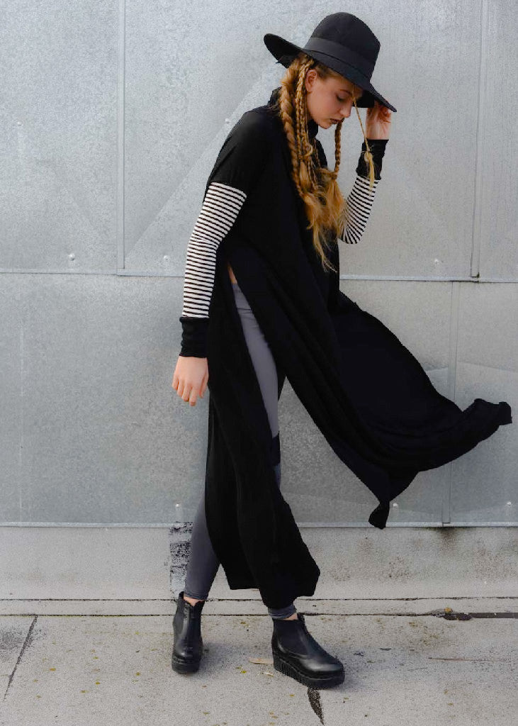Funnel Tunnel Vent Tee Maxi T-Shirt Dress - Contrast Sleeve - BABOOSHKA BOUTIQUE - 15