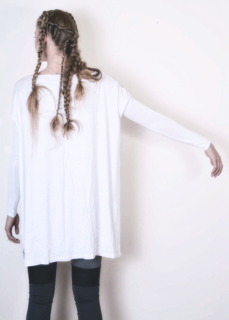 Cool White Vent Tee Mini Dress - BABOOSHKA BOUTIQUE - 8