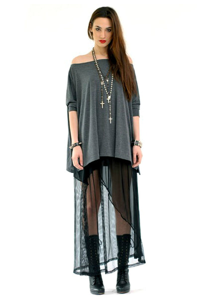Charcoal Gray Vent Tee T-Shirt - BABOOSHKA BOUTIQUE - 3