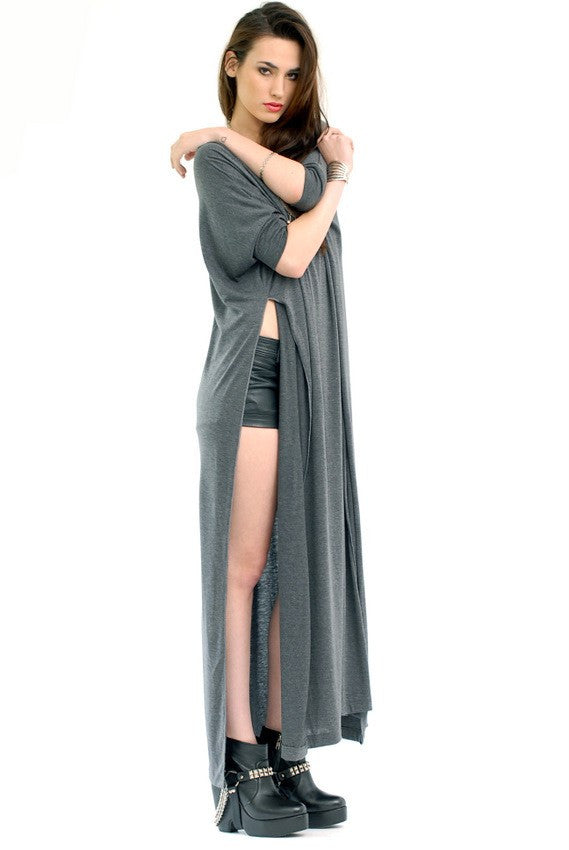 Charcoal Vent Tee Maxi T-Shirt Dress  [new colors] - BABOOSHKA BOUTIQUE - 3