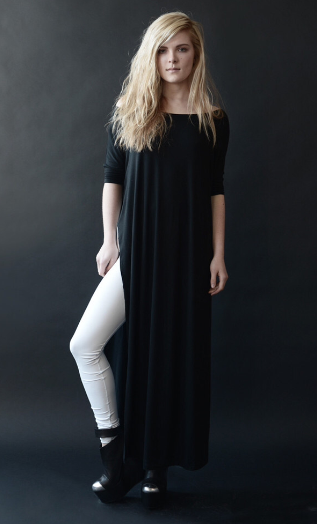Charcoal Vent Tee Maxi T-Shirt Dress  [new colors] - BABOOSHKA BOUTIQUE - 18