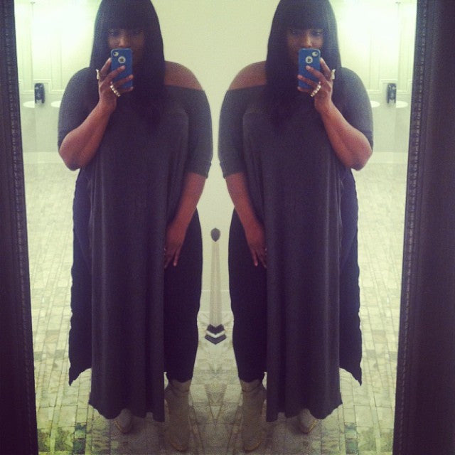 Charcoal Vent Tee Maxi T-Shirt Dress  [new colors] - BABOOSHKA BOUTIQUE - 25