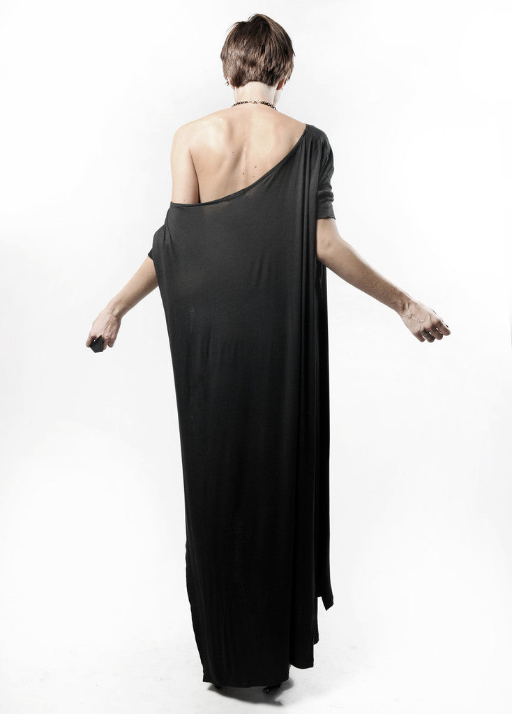 Charcoal Vent Tee Maxi T-Shirt Dress  [new colors] - BABOOSHKA BOUTIQUE - 13