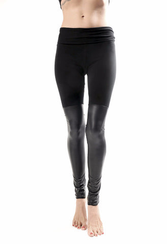 Black Out Leather Thigh High Leggings - Last Chance