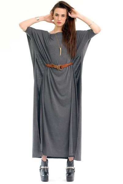 Charcoal Vent Tee Maxi T-Shirt Dress  [new colors] - BABOOSHKA BOUTIQUE - 1