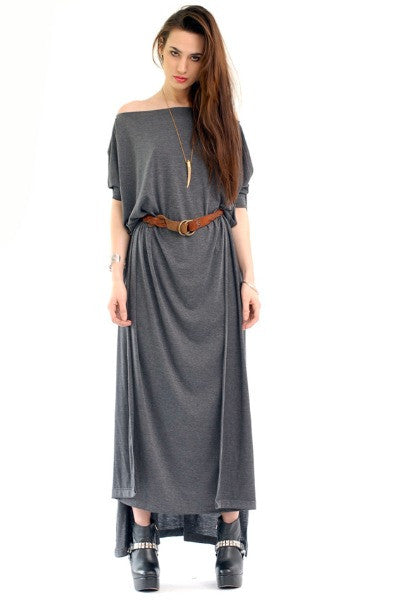 Charcoal Vent Tee Maxi T-Shirt Dress  [new colors] - BABOOSHKA BOUTIQUE - 4
