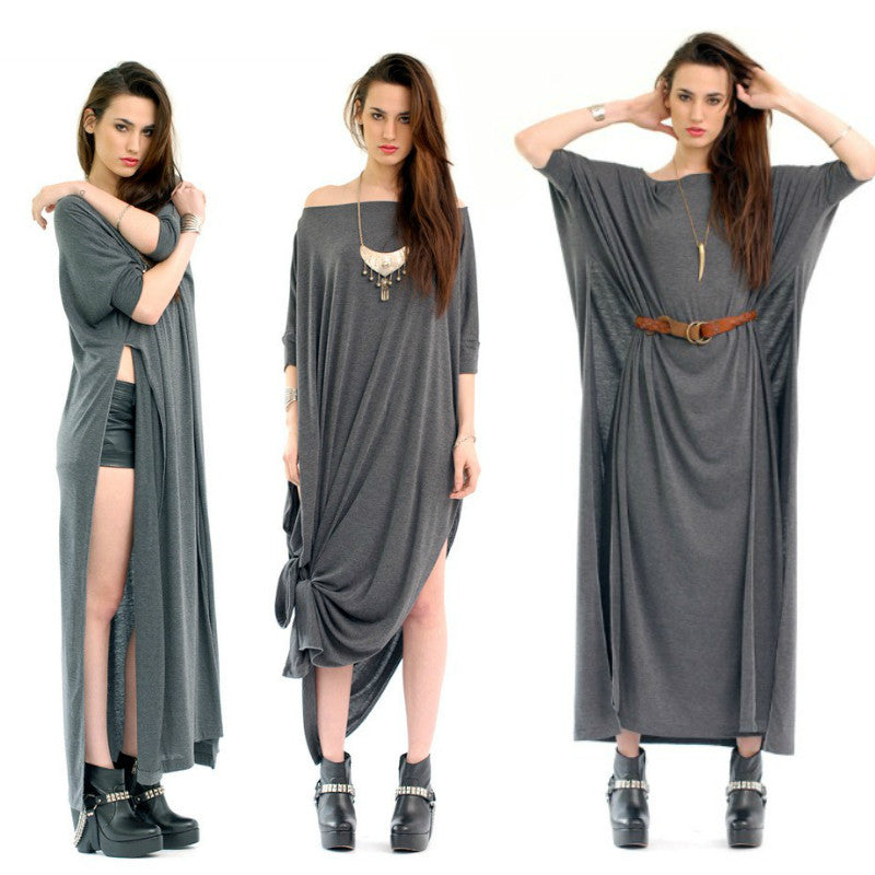 Charcoal Vent Tee Maxi T-Shirt Dress  [new colors] - BABOOSHKA BOUTIQUE - 9