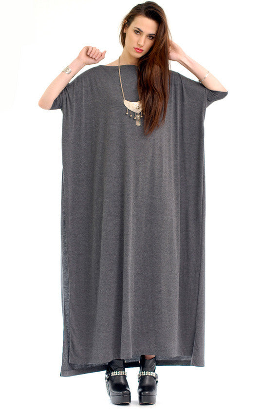 Charcoal Vent Tee Maxi T-Shirt Dress  [new colors] - BABOOSHKA BOUTIQUE - 5