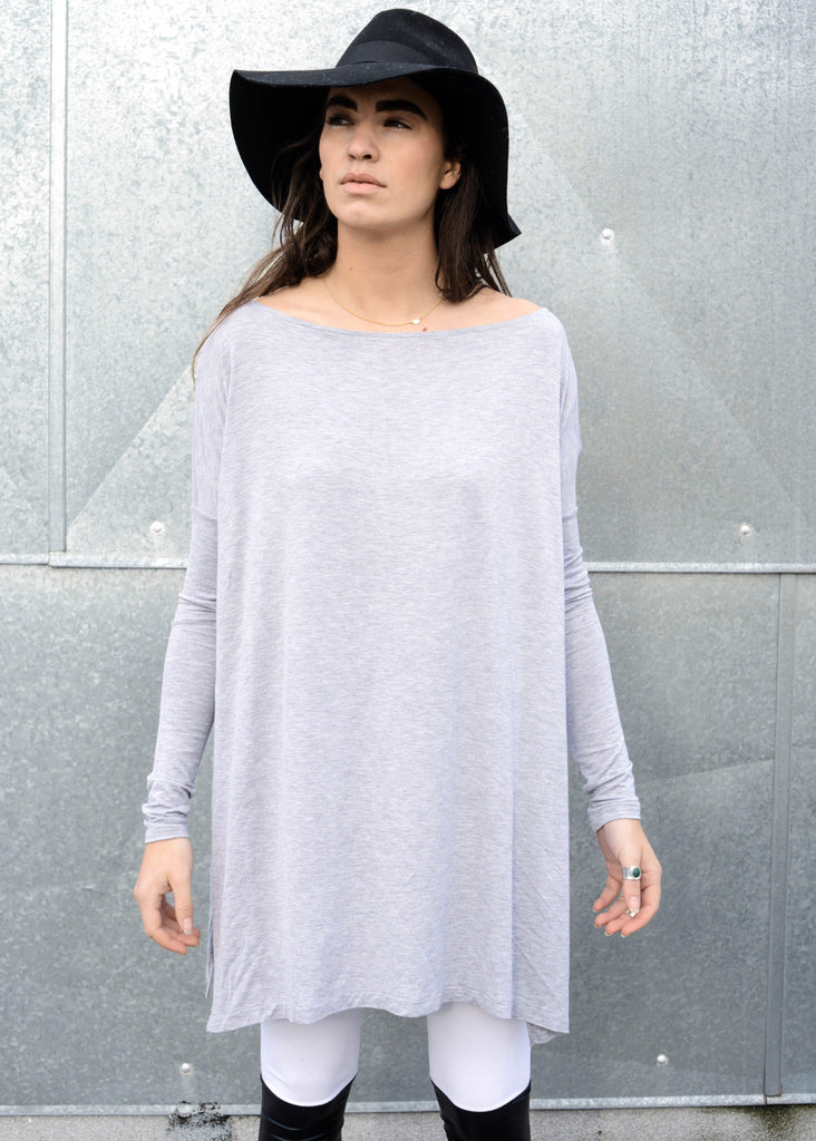 Heather Gray Vent Tee Mini Dress - BABOOSHKA BOUTIQUE - 5