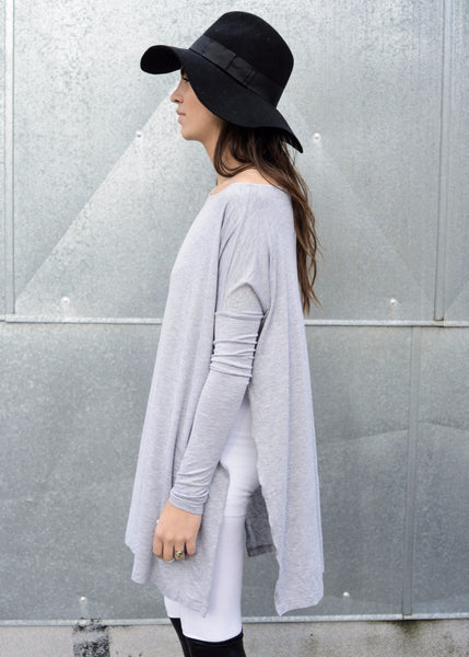 Vent Tee Oversized T-Shirt Mini Dress - Heather Gray - BABOOSHKA BOUTIQUE - 2