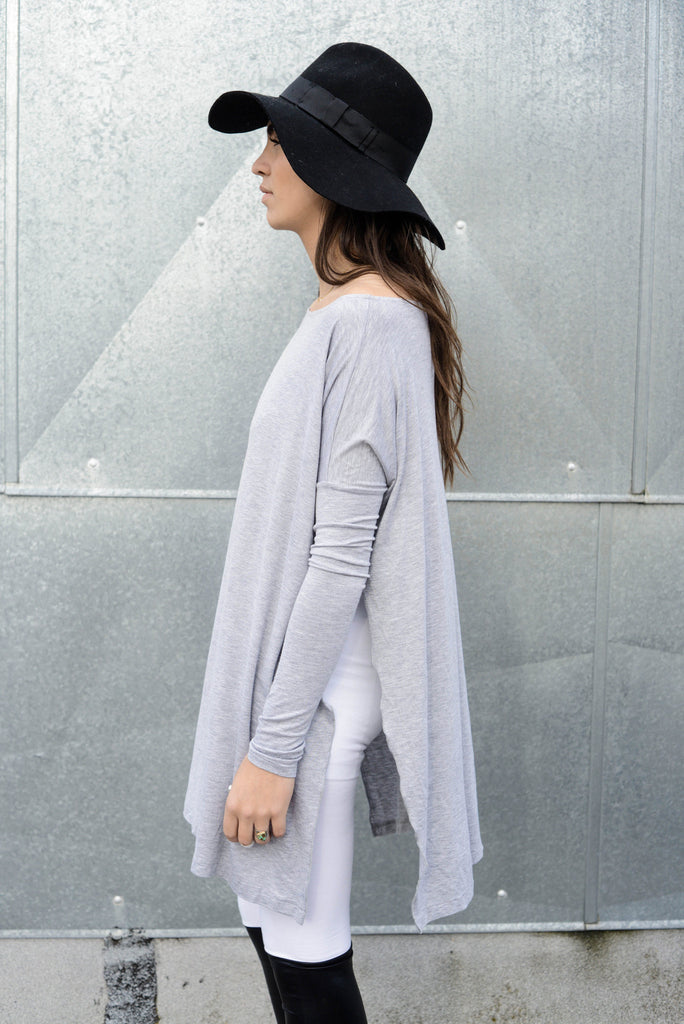 Heather Gray Vent Tee Mini Dress - BABOOSHKA BOUTIQUE - 10
