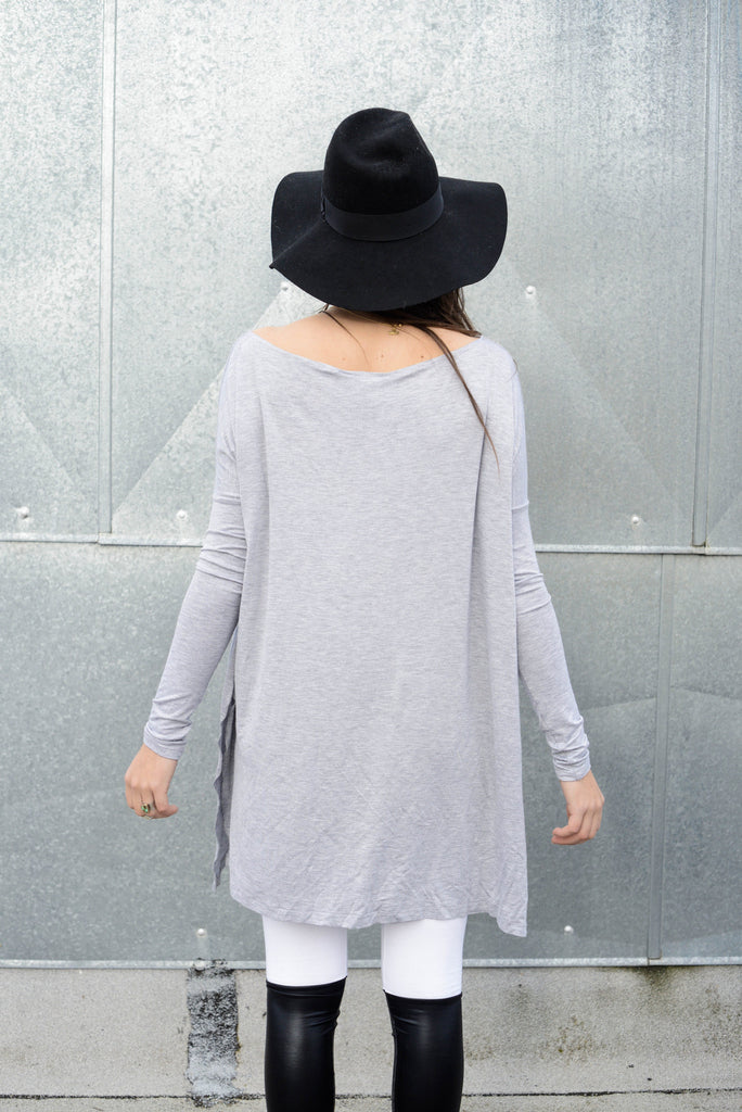 Heather Gray Vent Tee Mini Dress - BABOOSHKA BOUTIQUE - 15