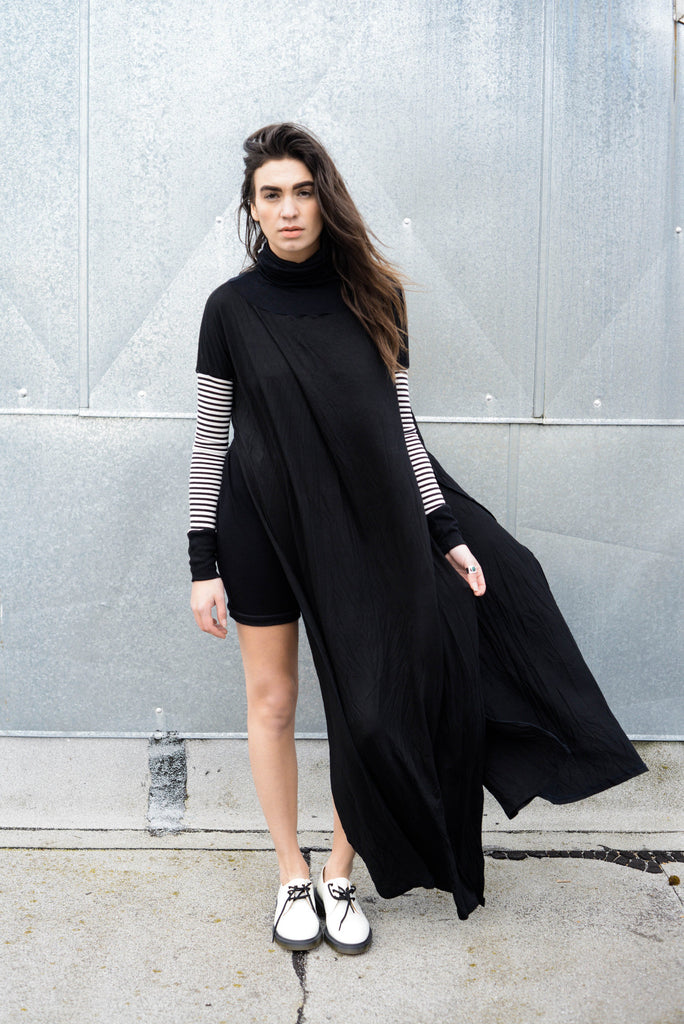 Funnel Tunnel Vent Tee Maxi T-Shirt Dress - Contrast Sleeve - BABOOSHKA BOUTIQUE - 4