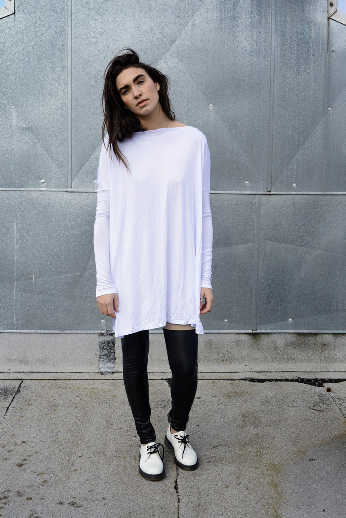 Cool White Vent Tee Mini Dress - BABOOSHKA BOUTIQUE - 5