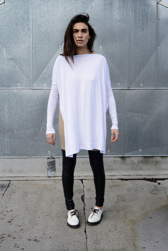 Cool White Vent Tee Mini Dress - BABOOSHKA BOUTIQUE - 4