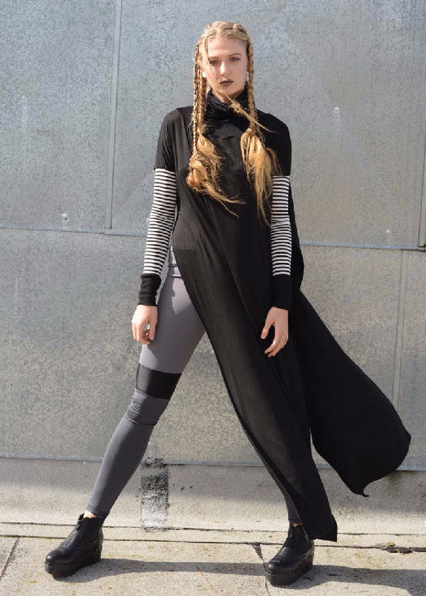 Funnel Tunnel Vent Tee Maxi T-Shirt Dress - Contrast Sleeve - BABOOSHKA BOUTIQUE - 1