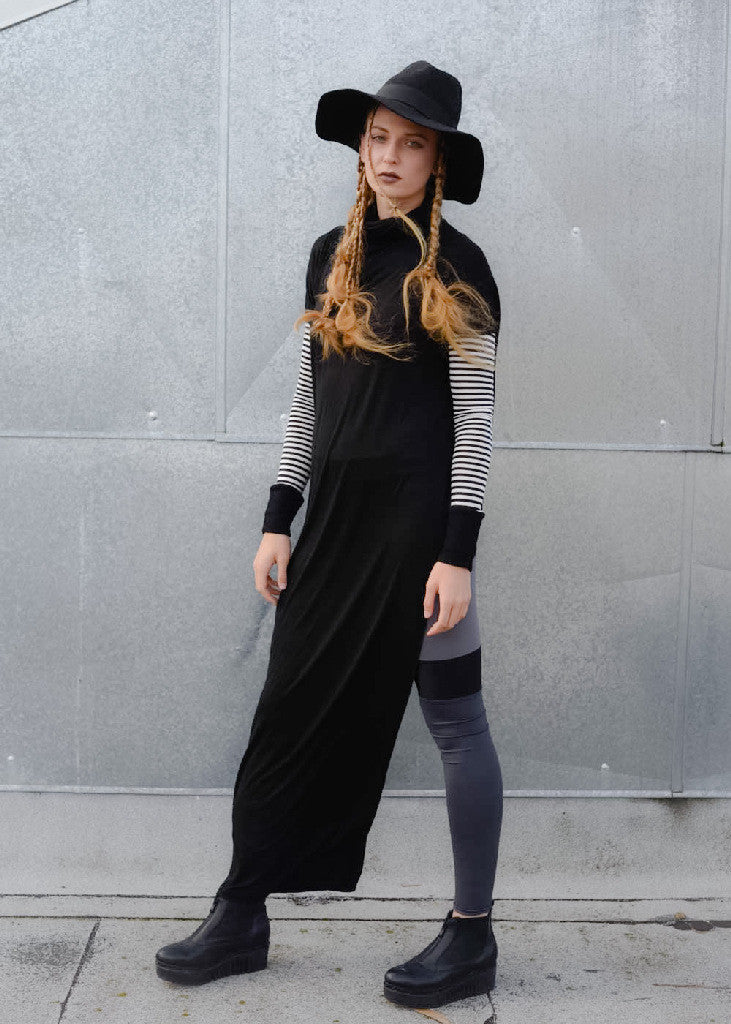Funnel Tunnel Vent Tee Maxi T-Shirt Dress - Contrast Sleeve - BABOOSHKA BOUTIQUE - 3
