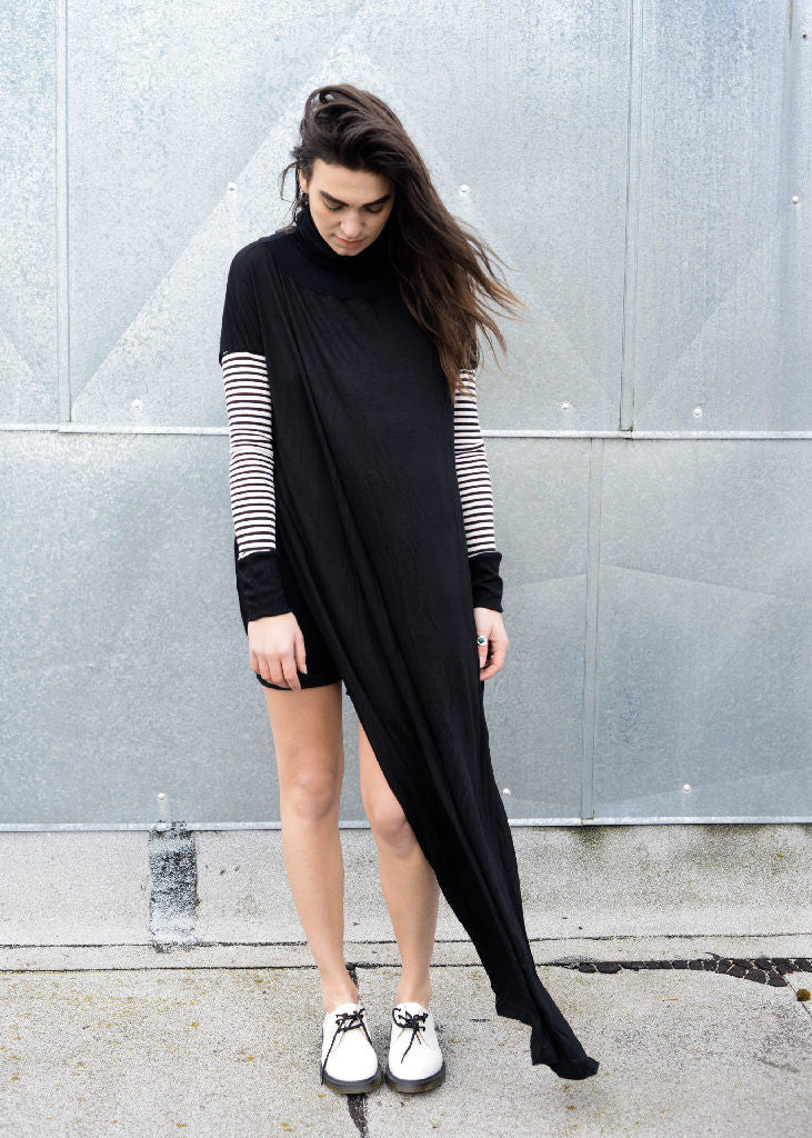 Funnel Tunnel Vent Tee Maxi T-Shirt Dress - Contrast Sleeve - BABOOSHKA BOUTIQUE - 5