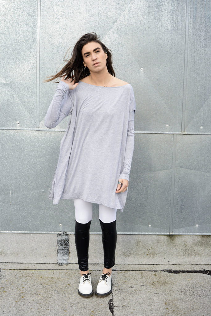 Heather Gray Vent Tee Mini Dress - BABOOSHKA BOUTIQUE - 16