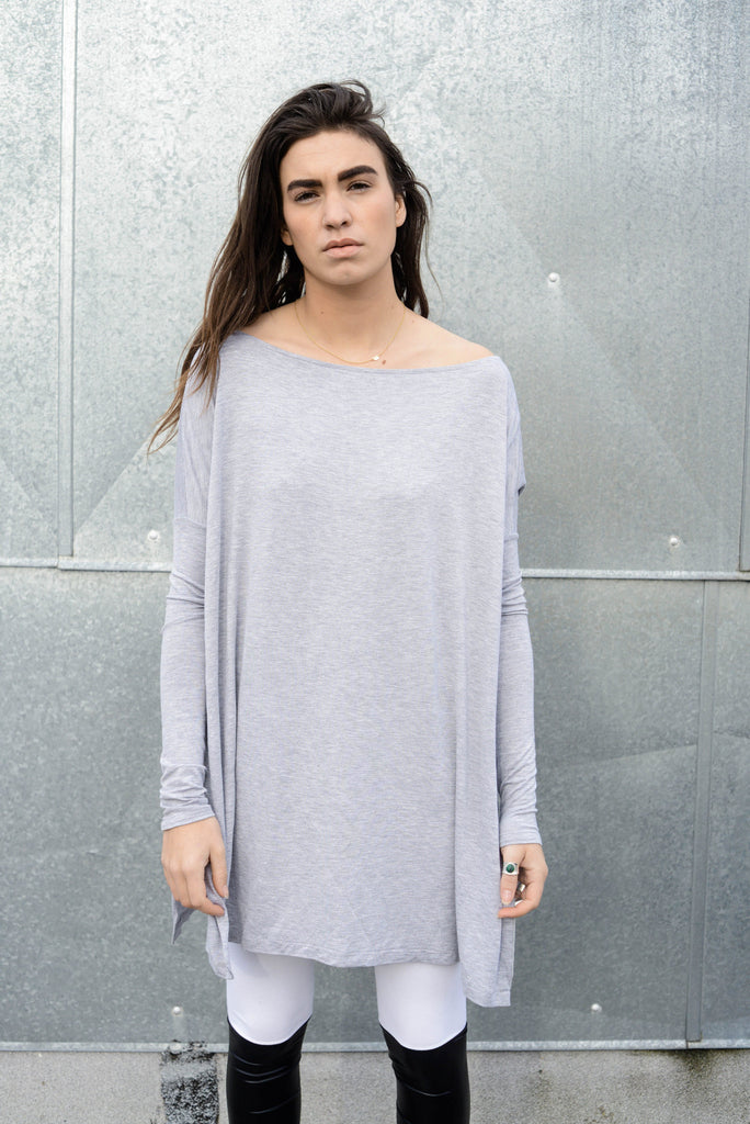 Heather Gray Vent Tee Mini Dress - BABOOSHKA BOUTIQUE - 8