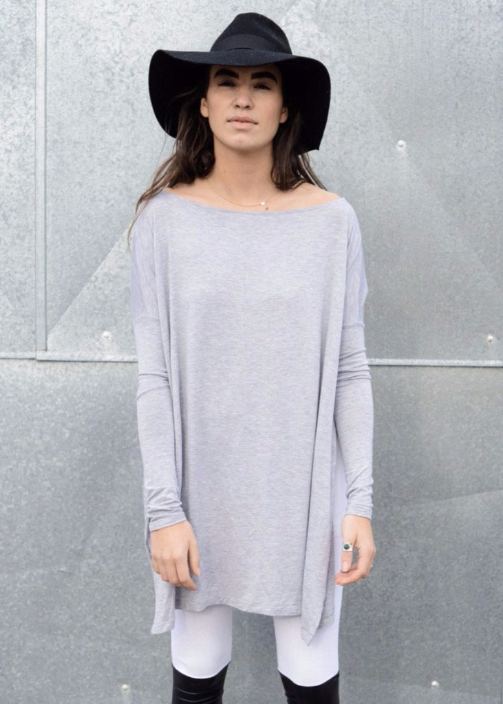 Heather Gray Vent Tee Mini Dress - BABOOSHKA BOUTIQUE - 4