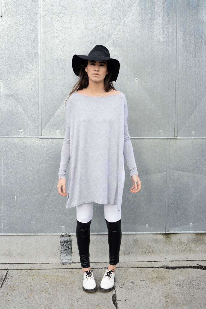 Heather Gray Vent Tee Mini Dress - BABOOSHKA BOUTIQUE - 9
