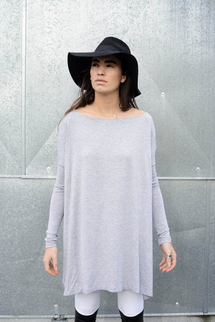 Heather Gray Vent Tee Mini Dress - BABOOSHKA BOUTIQUE - 7