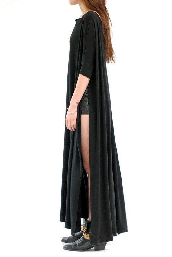 Black Vent Tee Maxi Dress - BABOOSHKA BOUTIQUE - 20