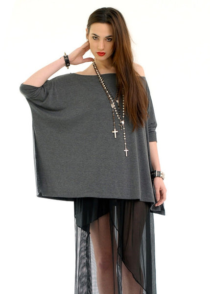 Charcoal Gray Vent Tee T-Shirt - BABOOSHKA BOUTIQUE - 1