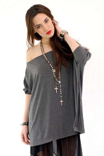 Charcoal Gray Vent Tee T-Shirt - BABOOSHKA BOUTIQUE - 2