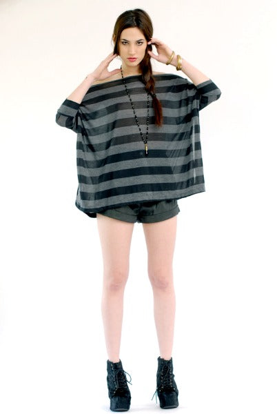 Banded Stripe Vent Tee