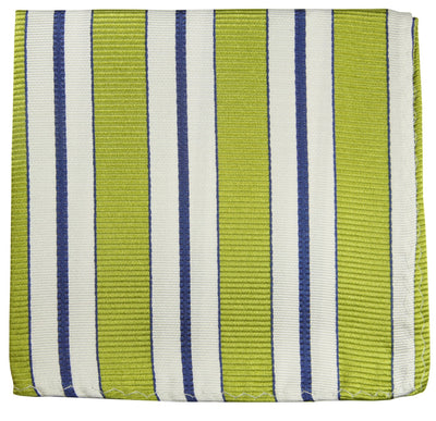 Green, White and Navy Striped Silk Pocket Square Paul Malone  - Paul Malone.com