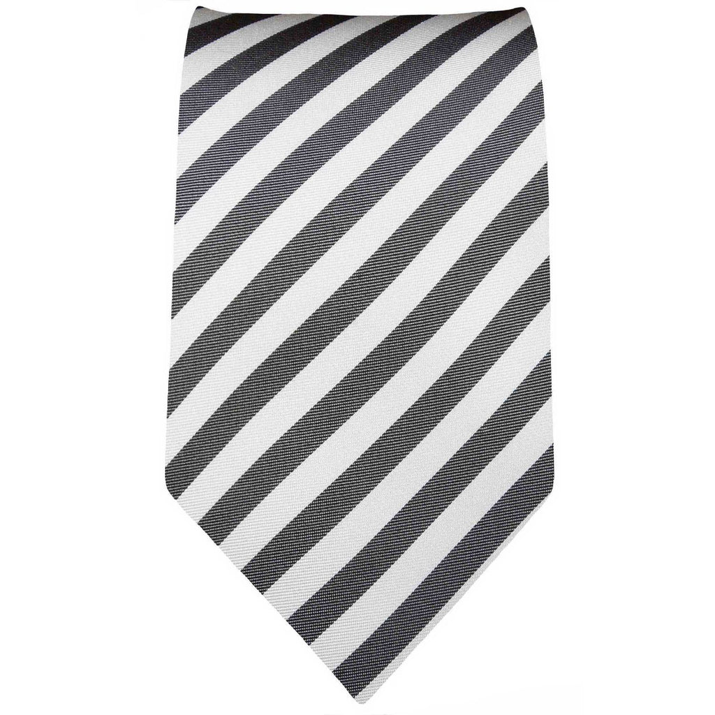 Charcoal and White Striped Necktie Paul Malone Ties - Paul Malone.com